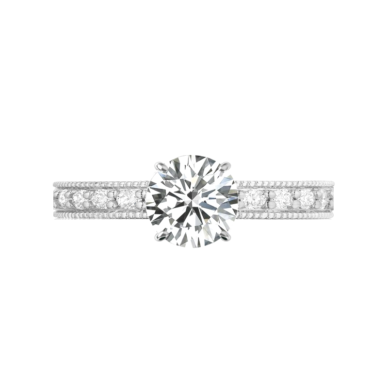 1.00 Carat Forever One Moissanite & 2mm Diamond Bright Cut Pave Ring