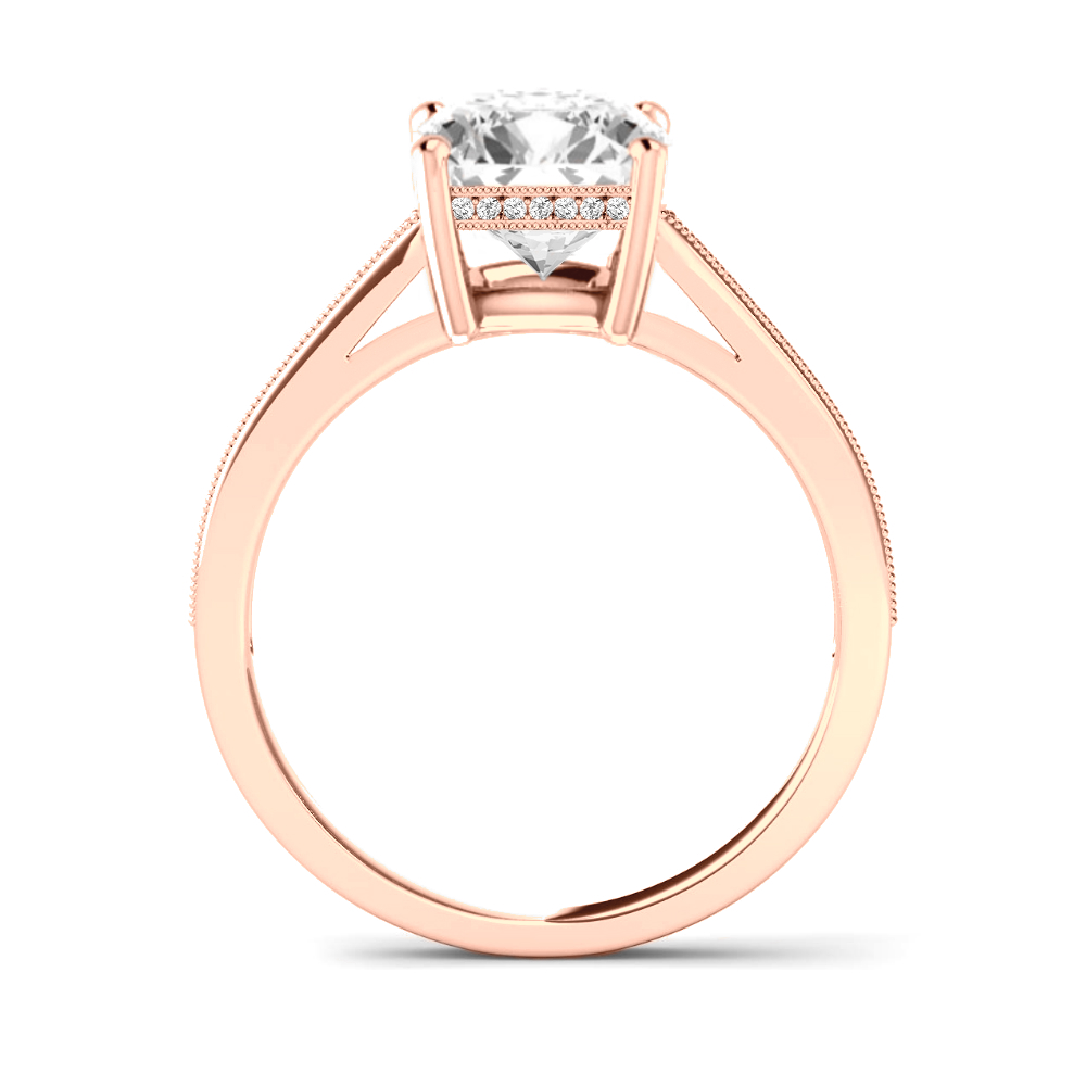 2.00 Carat Oval Forever One Moissanite & 2mm Diamond Bright Cut Pave Ring