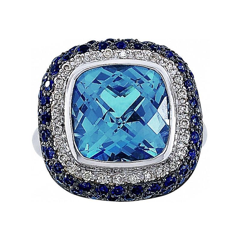 8 Carat Cushion Swiss Blue Topaz, Blue Sapphire & Diamond Fashion Ring
