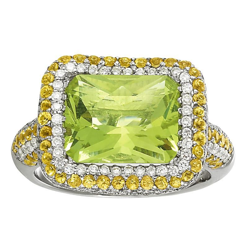 5.00 Carat Emerald Lemon Quartz, Yellow Sapphire & Diamond Ring