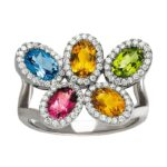 Oval Rainbow Gemstone & Diamond Halo Ring