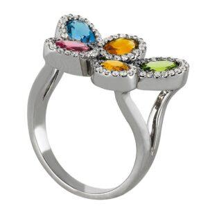 Oval Rainbow Gemstone & Diamond Halo Ring
