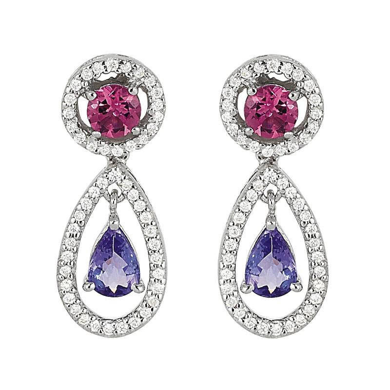 Tanzanite, Pink Tourmaline & Diamond Dangle Earrings