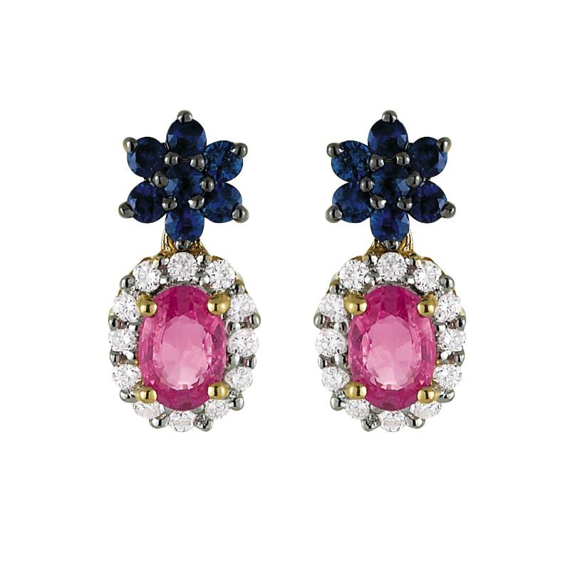 6x4mm Pink Sapphire, Blue Sapphire & Diamond Halo Earrings