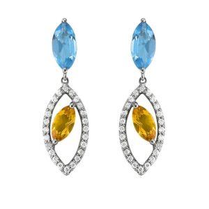 Marquise Swiss Blue Topaz, Citrine & Diamond Earrings