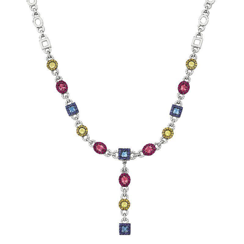 Yellow Sapphire, Pink Tourmaline, Blue Sapphire, Blue Topaz & Diamond Link Statement Necklace