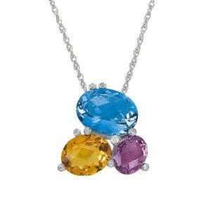 Oval Swiss Blue Topaz, Citrine, Amethyst & Diamond Cluster Pendant