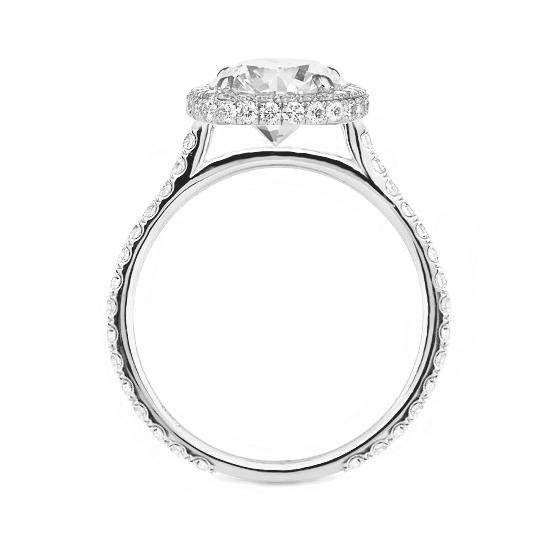 3.60 Carat Pear Moissanite & Diamond Double Edge Halo Ring