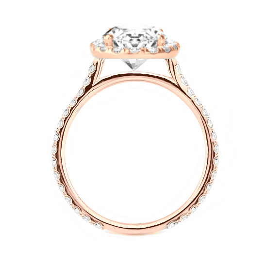 3 Carat Oval Moissanite & Diamond Halo Rose Gold Ring