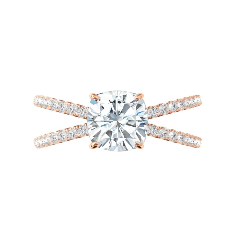 2.50 Carat Cushion Moissanite & Diamond Criss Cross Rose Gold Ring