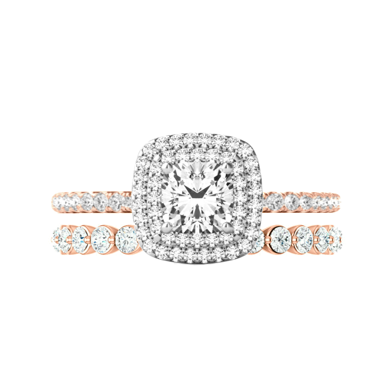 0.75 ct Cushion Diamond & Double Halo Wedding Set Two Tone