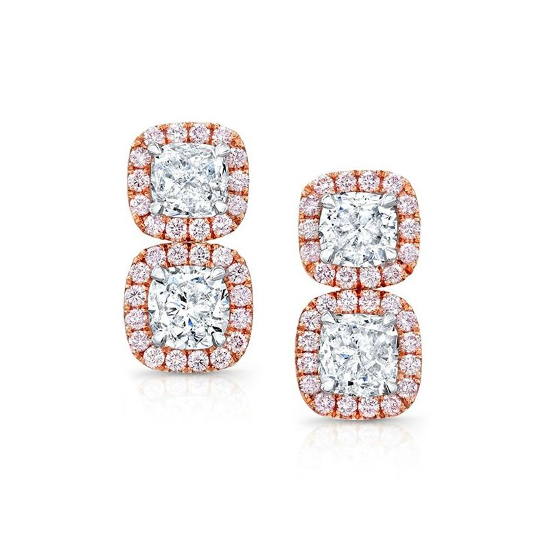 Cushion Diamond & Pink Diamond Halo Dangle Earrings