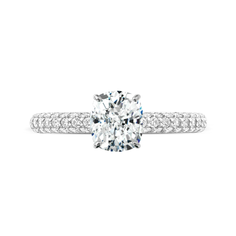 1.70 Carat Cushion Diamond & Hidden Halo Three Row Pave Ring