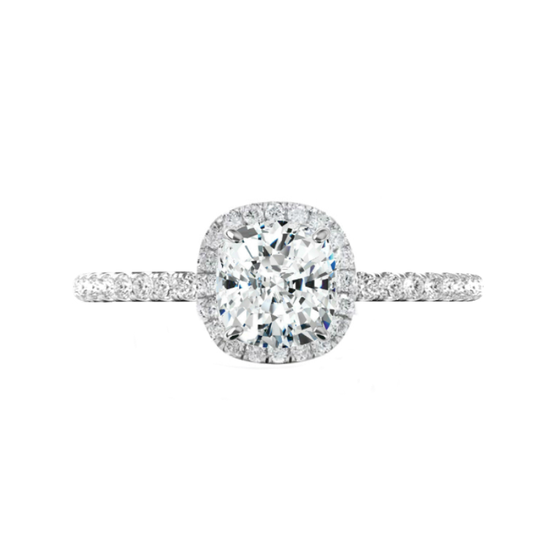 0.50 Carat Cushion Diamond & Halo Engagement Ring