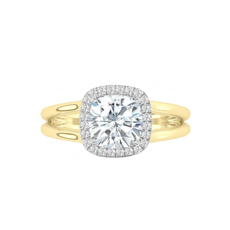 1.80 Carat Cushion Moissanite & Diamond Halo Split Band Solitaire