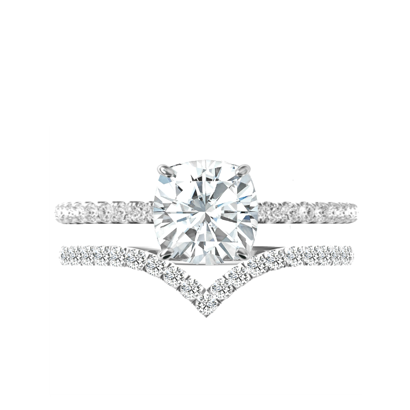 1.70 Carat Cushion Forever One Moissanite, Diamond Hidden Halo Ring & V Shaped Diamond Band
