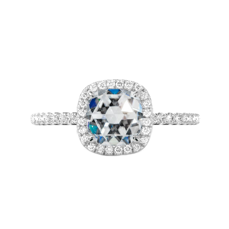 1.70 Carat Cushion Rose Cut Moissanite & Diamond Halo Engagement Ring