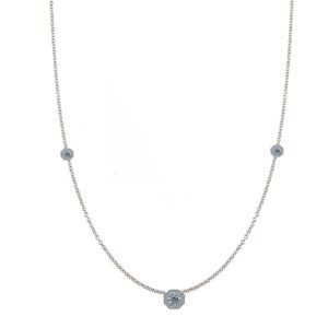 Round Diamond & Octagon Halo Station Necklace