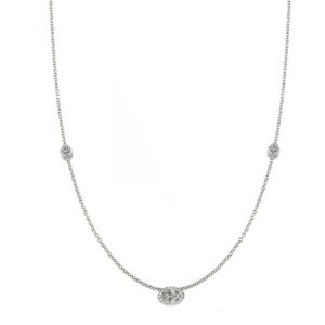Oval Diamond & Halo East West Station Necklace