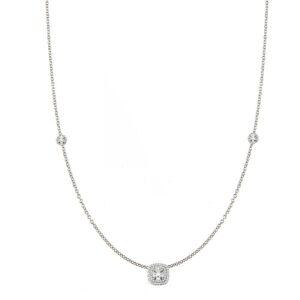 Round Diamond & Cushion Shaped Double Halo Station Necklace