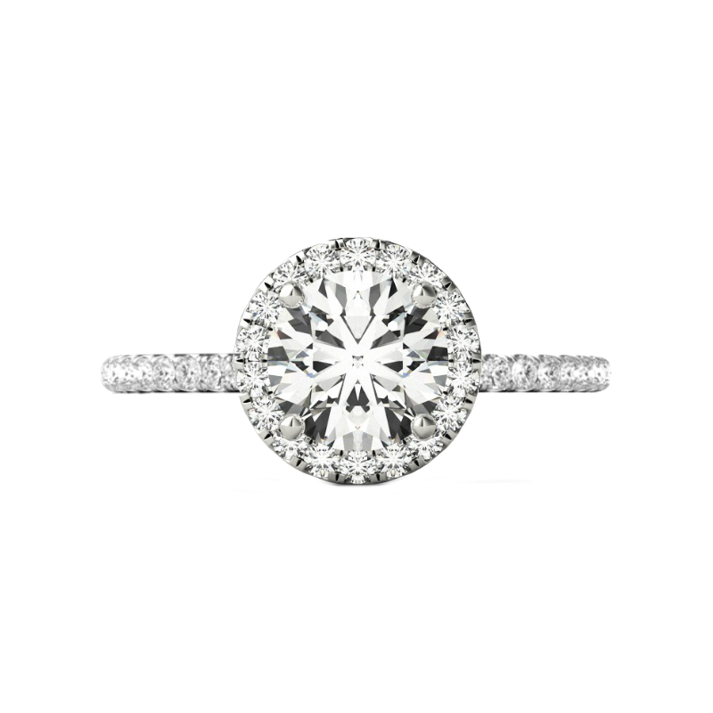 3.00 Carat Round Forever One Moissanite & Diamond Halo Wedding Set