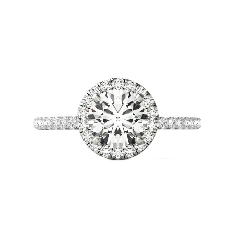 3.00 Carat Round Forever One Moissanite & Diamond Halo Wedding Set