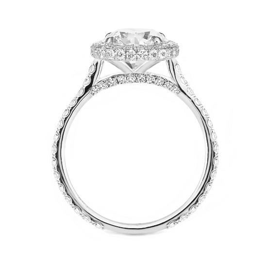 2 Carat Round Moissanite & Diamond Double Edge Halo Ring