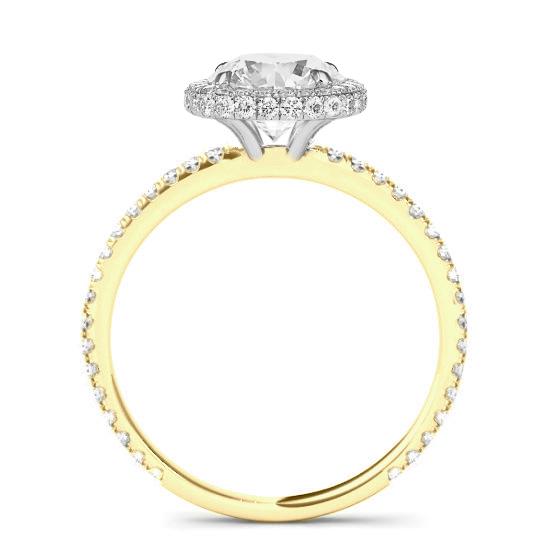 2.80 Carat Antique Cushion Moissanite & Diamond Double Edge Halo Ring