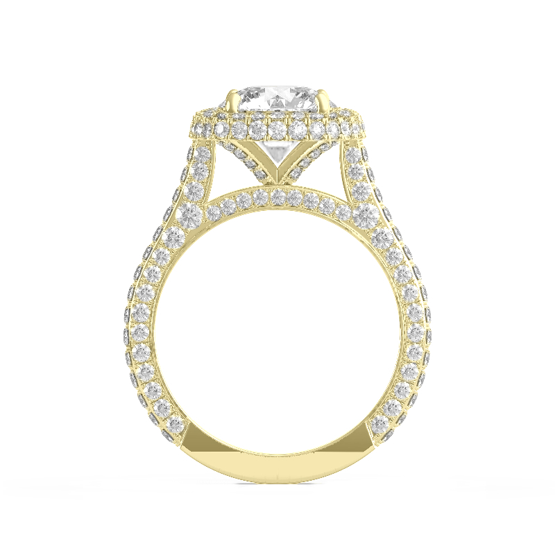 1 Carat Radiant Lab Grown Diamond & Double Edge Halo Three Row Pave