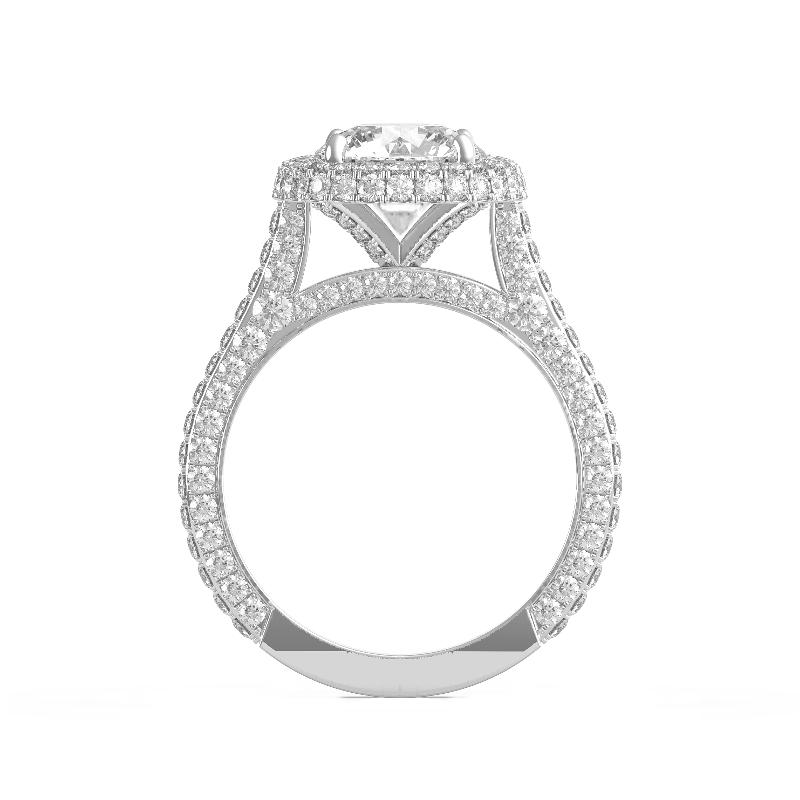 1 Carat Round Diamond & Double Edge Halo Three Row Pave Ring