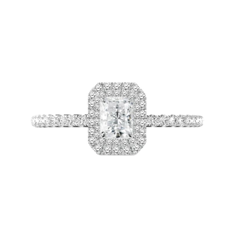 0.80 Carat Radiant Diamond & Double Halo Engagement Ring