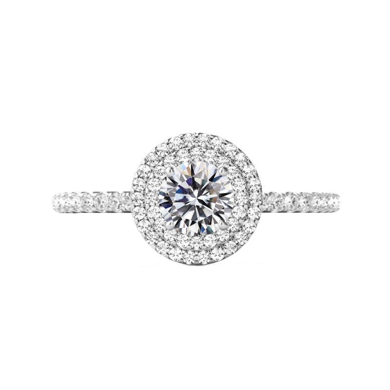 0.90 Carat Round Diamond & Double Halo Engagement Ring