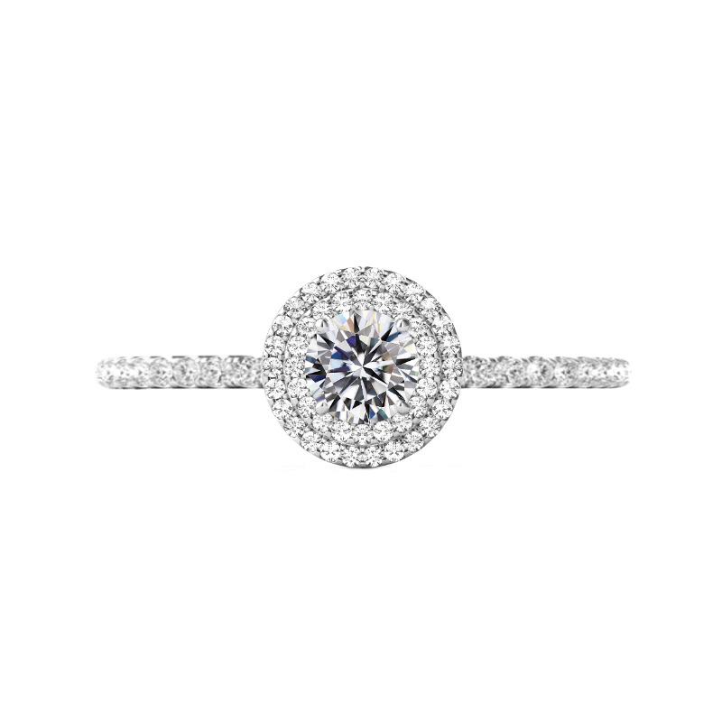 0.50 Carat Round Diamond & Double Halo Engagement Ring