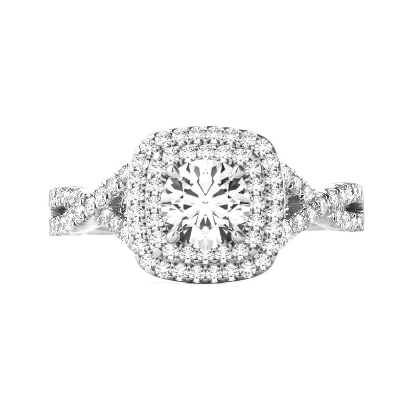 2.00 Carat Round Moissanite & Cushion Double Halo Twisted Shank Engagement Ring