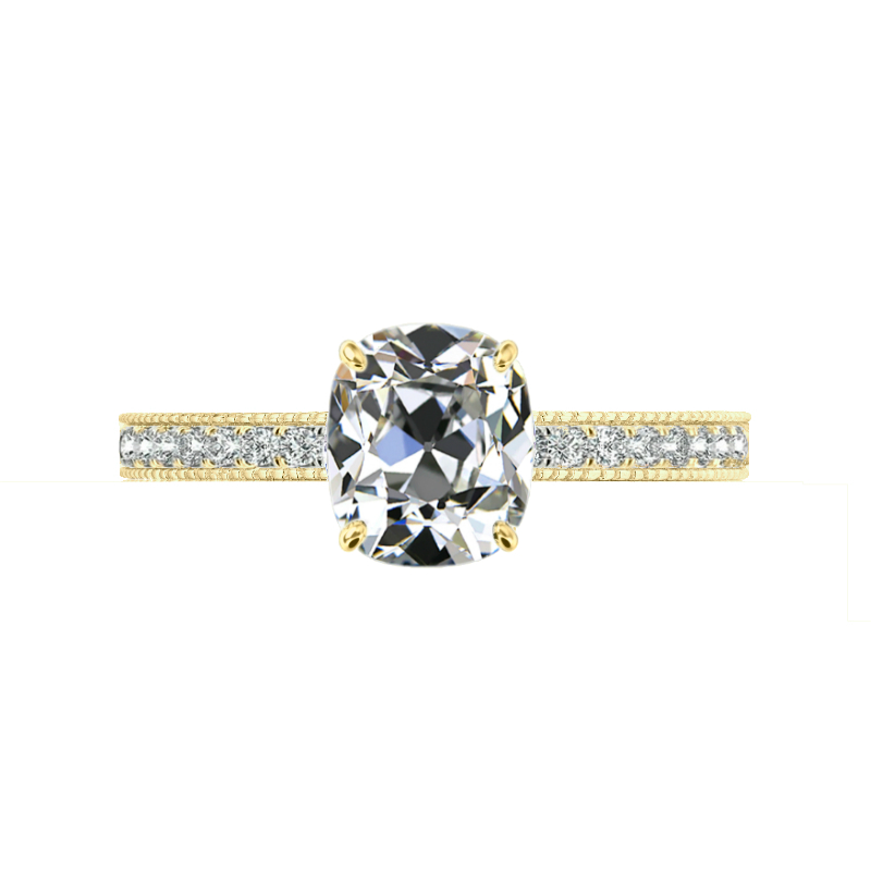 2 ct Antique Cushion Moissanite & Diamond Bright Cut Pave Ring