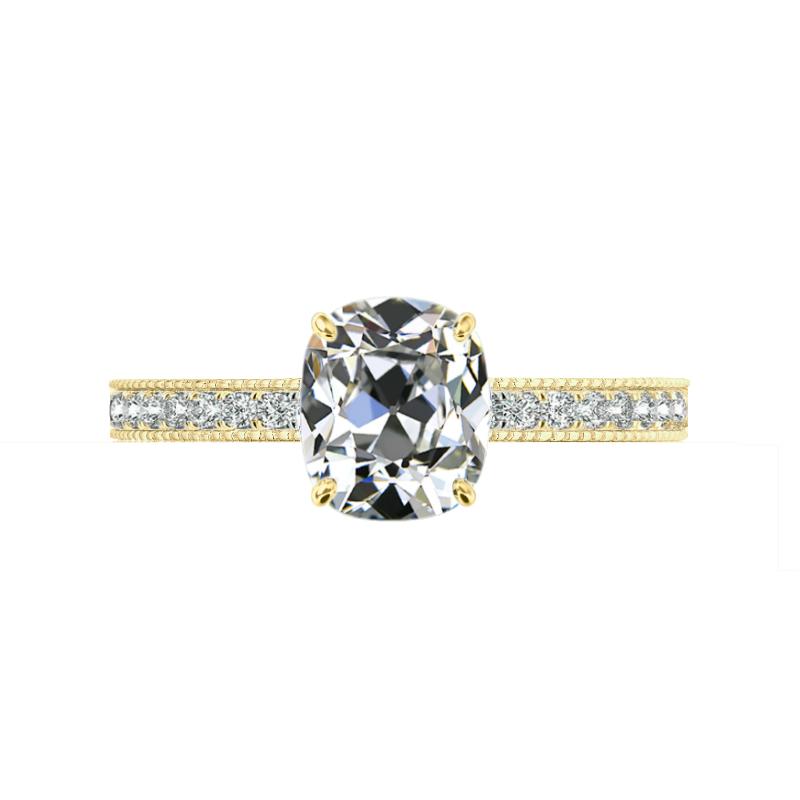 2 ct Antique Cushion Moissanite & Diamond Bright Cut Pave Ring