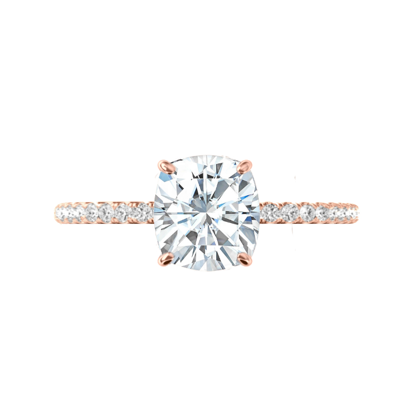 2.00 Carat Elongated Cushion Moissanite & Diamond Hidden Halo Rose Gold Ring