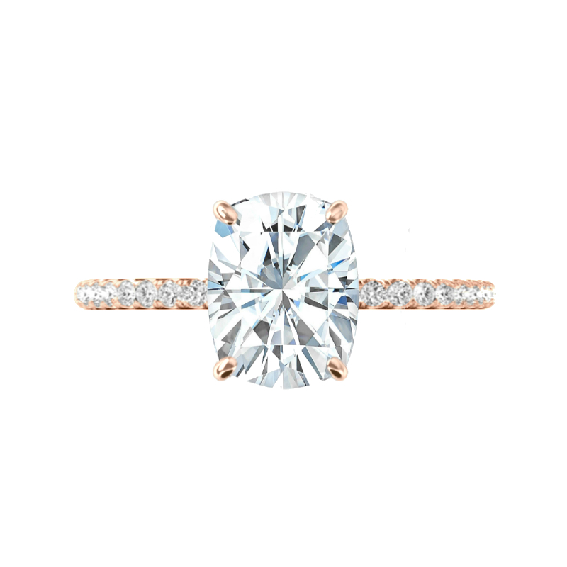 5 Carat Elongated Cushion Moissanite, Diamond Hidden Halo Ring & V Shaped Diamond Band