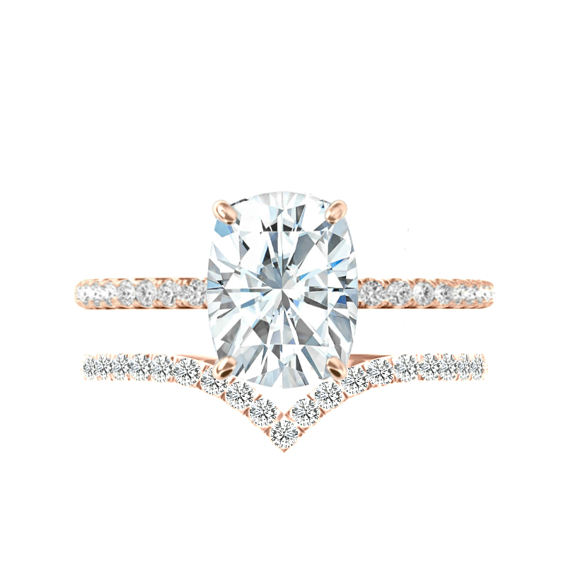 5 Carat Elongated Cushion Moissanite, Diamond Hidden Halo Ring & V Shaped Diamond Band