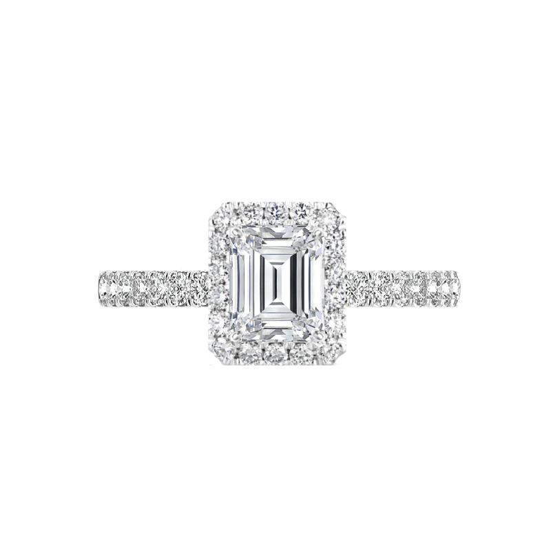 0.70 Carat Emerald Diamond & 1.7mm Halo Pave Ring