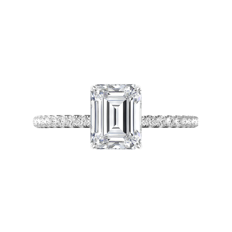 2.00 Carat Emerald Diamond & Hidden Halo Engagement Ring