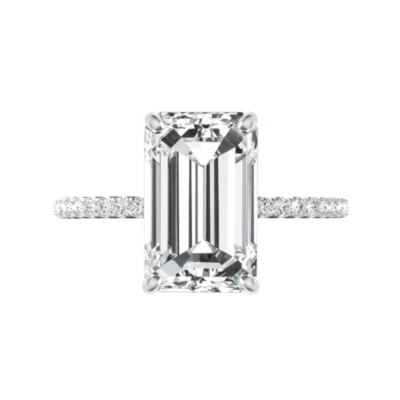 5.30 Carat Emerald Cut Moissanite & Diamond Hidden Halo Ring