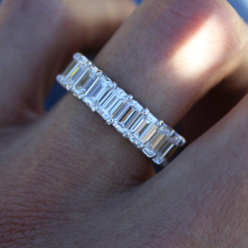 6 Carat Emerald Diamond Eternity Band