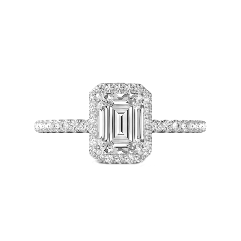 0.70 Carat Emerald Cut Diamond & Halo Ring