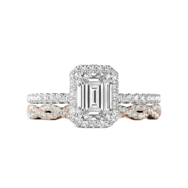 1.50 Carat Emerald Cut Forever One Moissanite & Diamond Halo Ring and Rose Gold Diamond Infinity Eternity Band