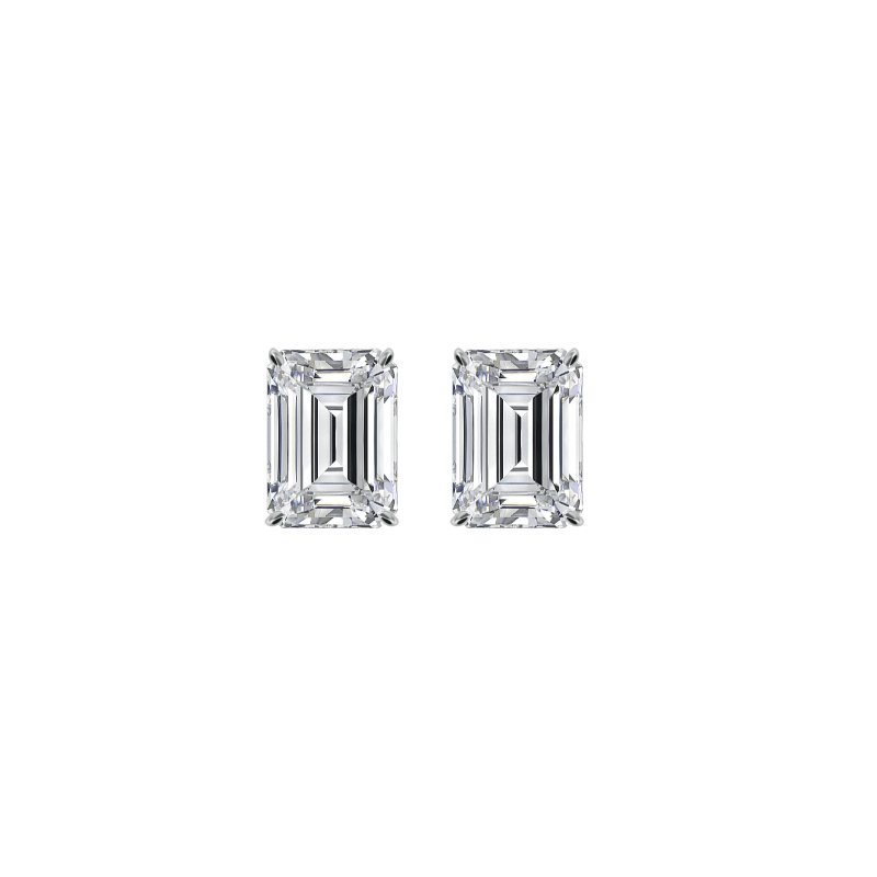 2 ctw Emerald Diamond Stud Earrings