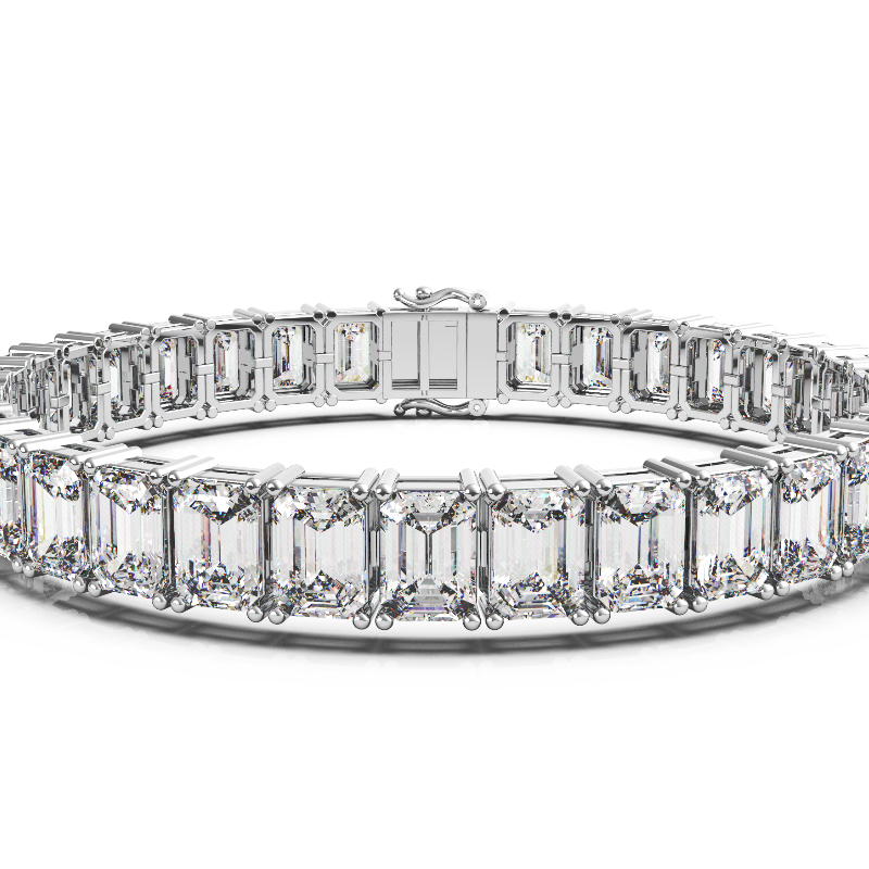 33 Carat Emerald Diamond Tennis Bracelet