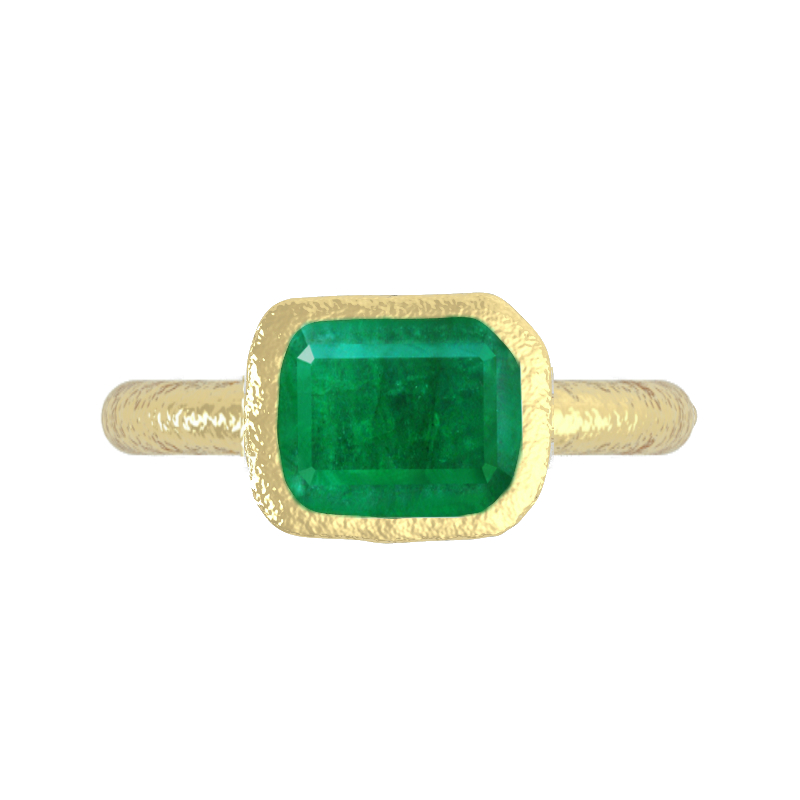 3 Carat Green Emerald & Hammered Gold Ring