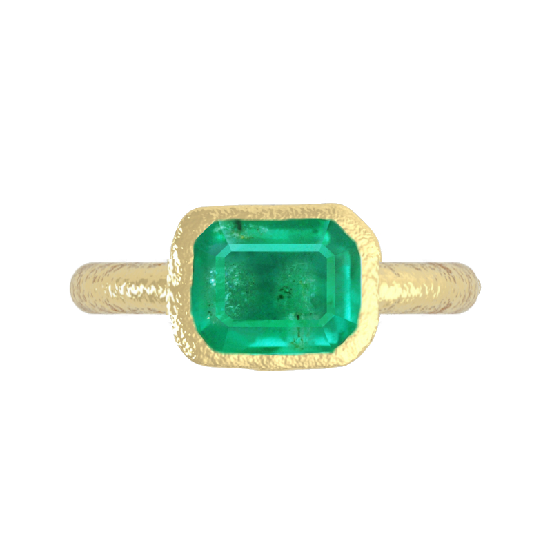 2 Carat Green Emerald & Hammered Gold Ring