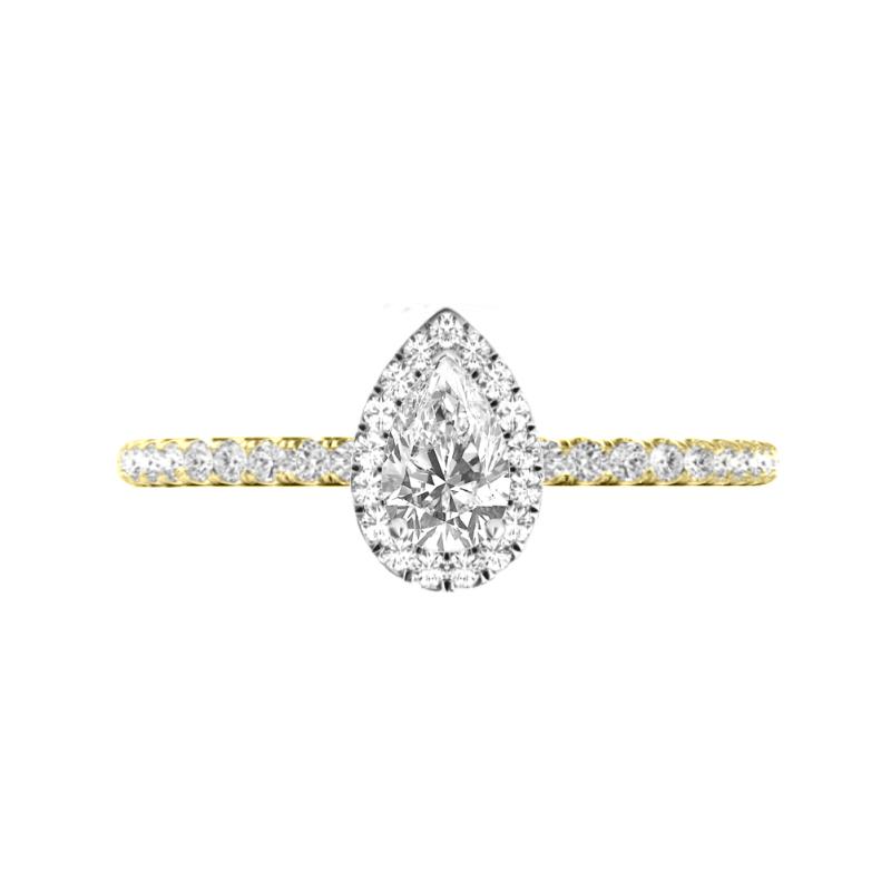 0.50 Carat Pear Diamond & Halo Ring 14k Two Tone Gold